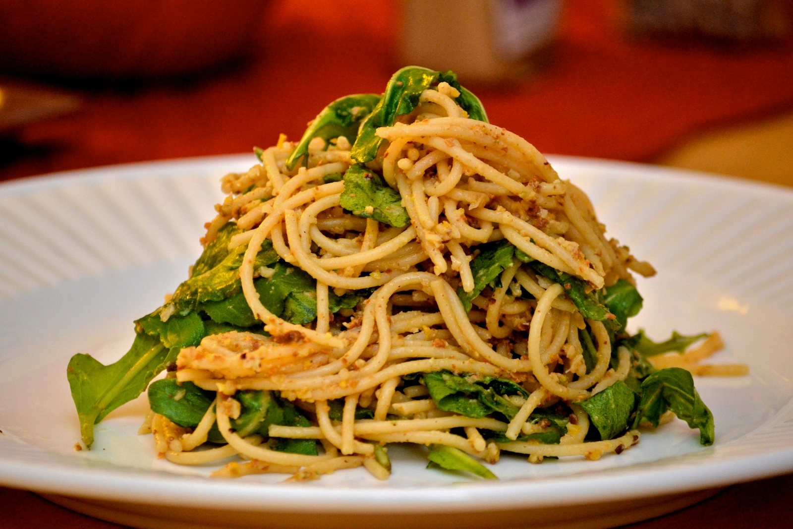 Whole Wheat Spaghetti with Meyer Lemon, Arugula, & Pistachios - Tuxedo ...