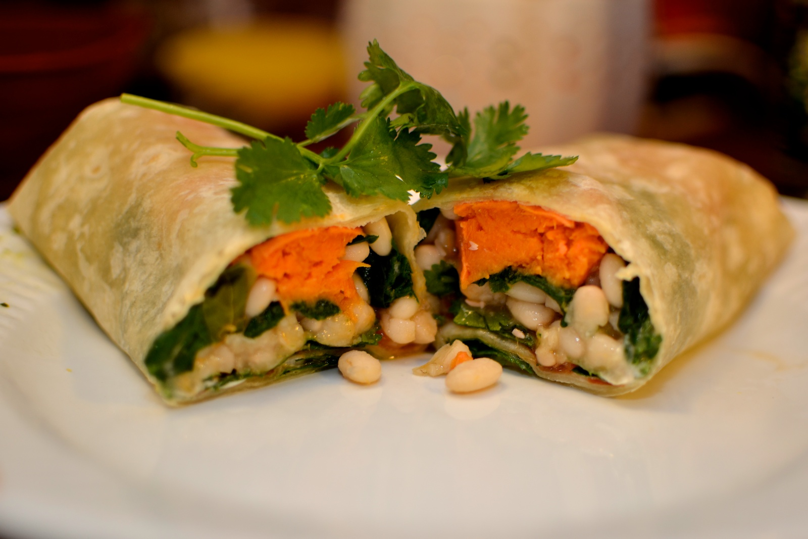 White Bean, Spinach, & Sweet Potato Burrito