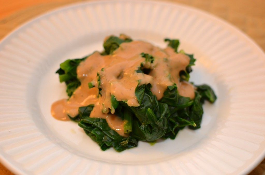 Sauteed Spinach with Cashew Tamari Dressing