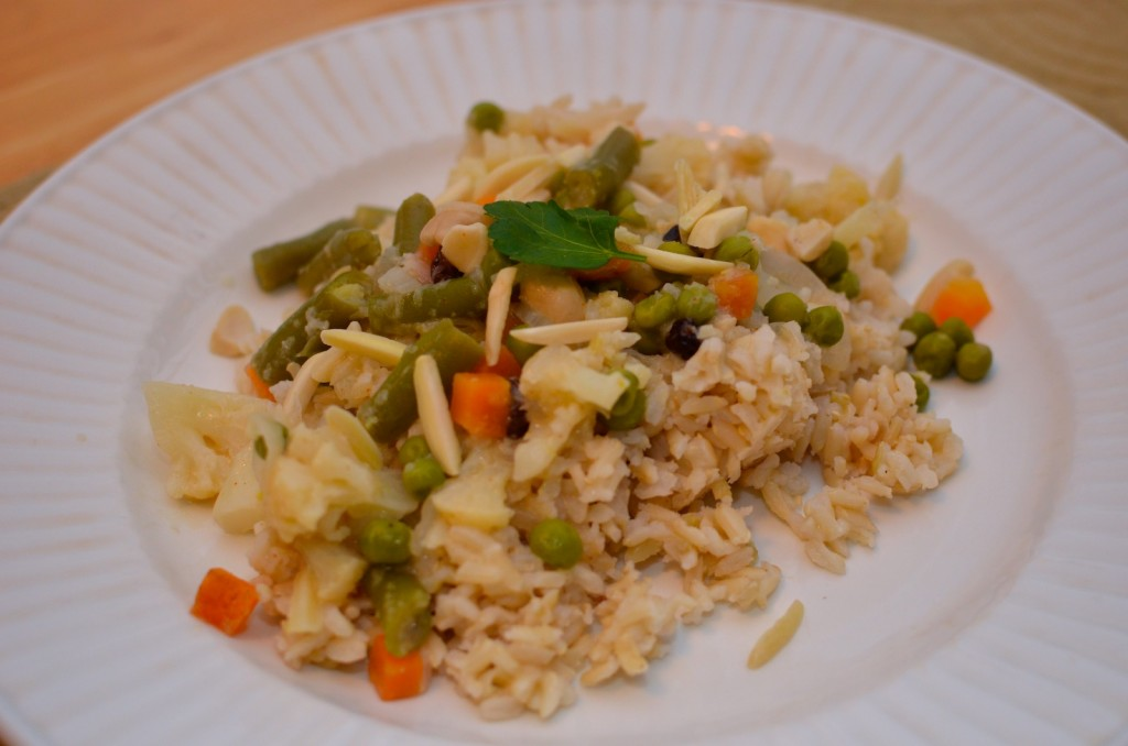 Creamy vegetable stew over brown rice
