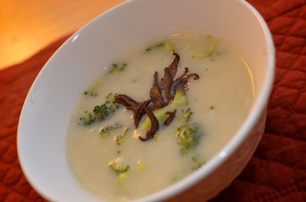 Cream of Broccoli Soup with Shiitake Bacon