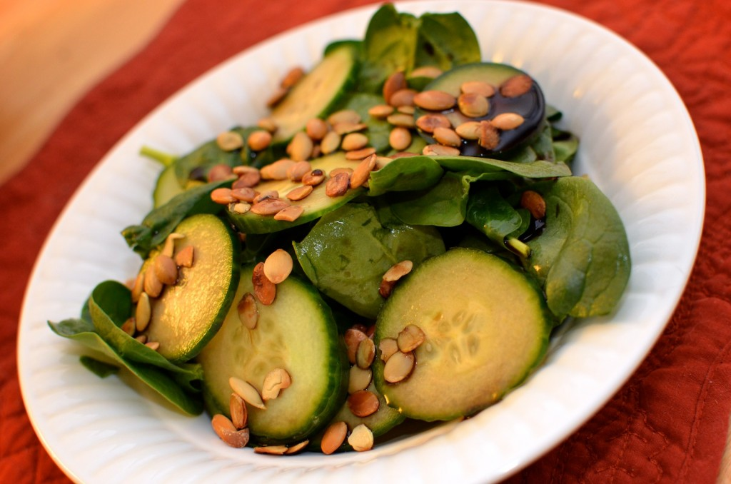 Spinach Salad with English Cucumbers, Toasted Pumpkin Seeds, and Balsamic Vinegar