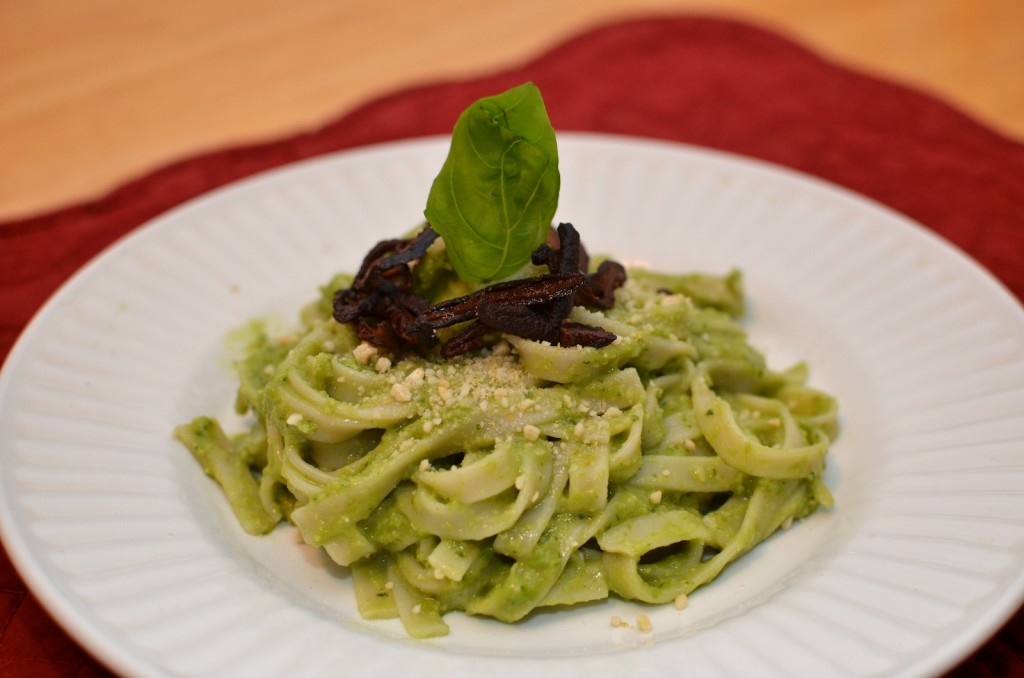 Fettuccine with Pea Pesto, Shiitake Bacon, & Cashew Parmesan