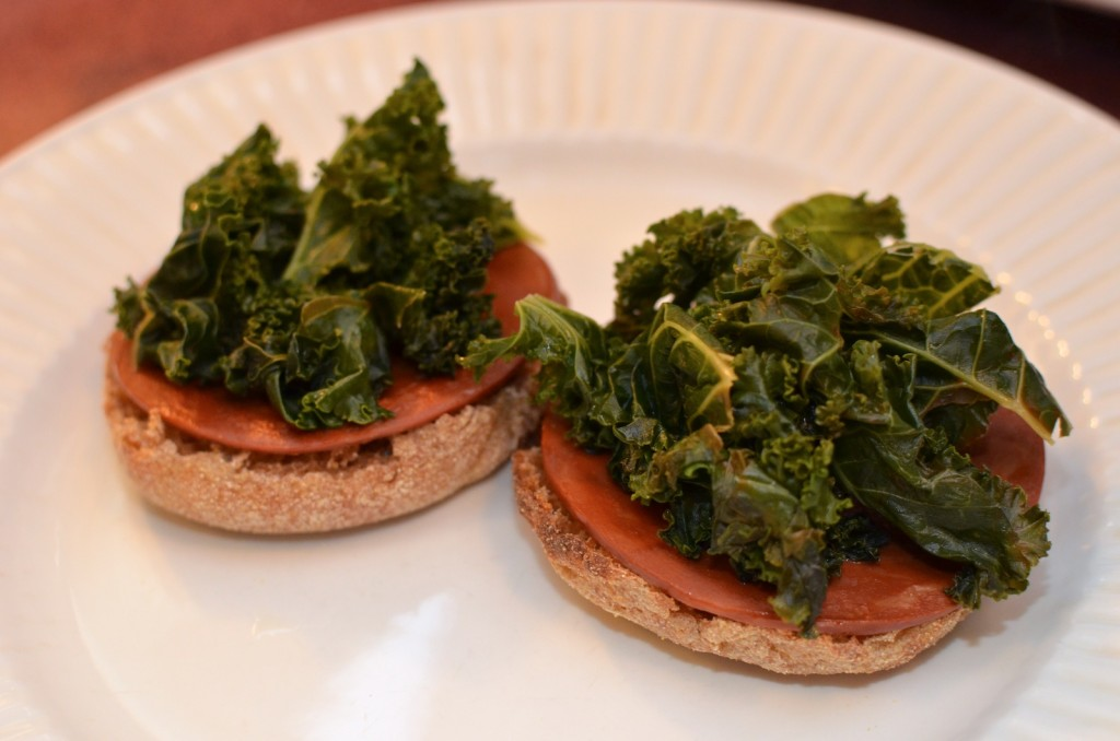 Layer the english muffins with Yves Canadian Bacon & kale